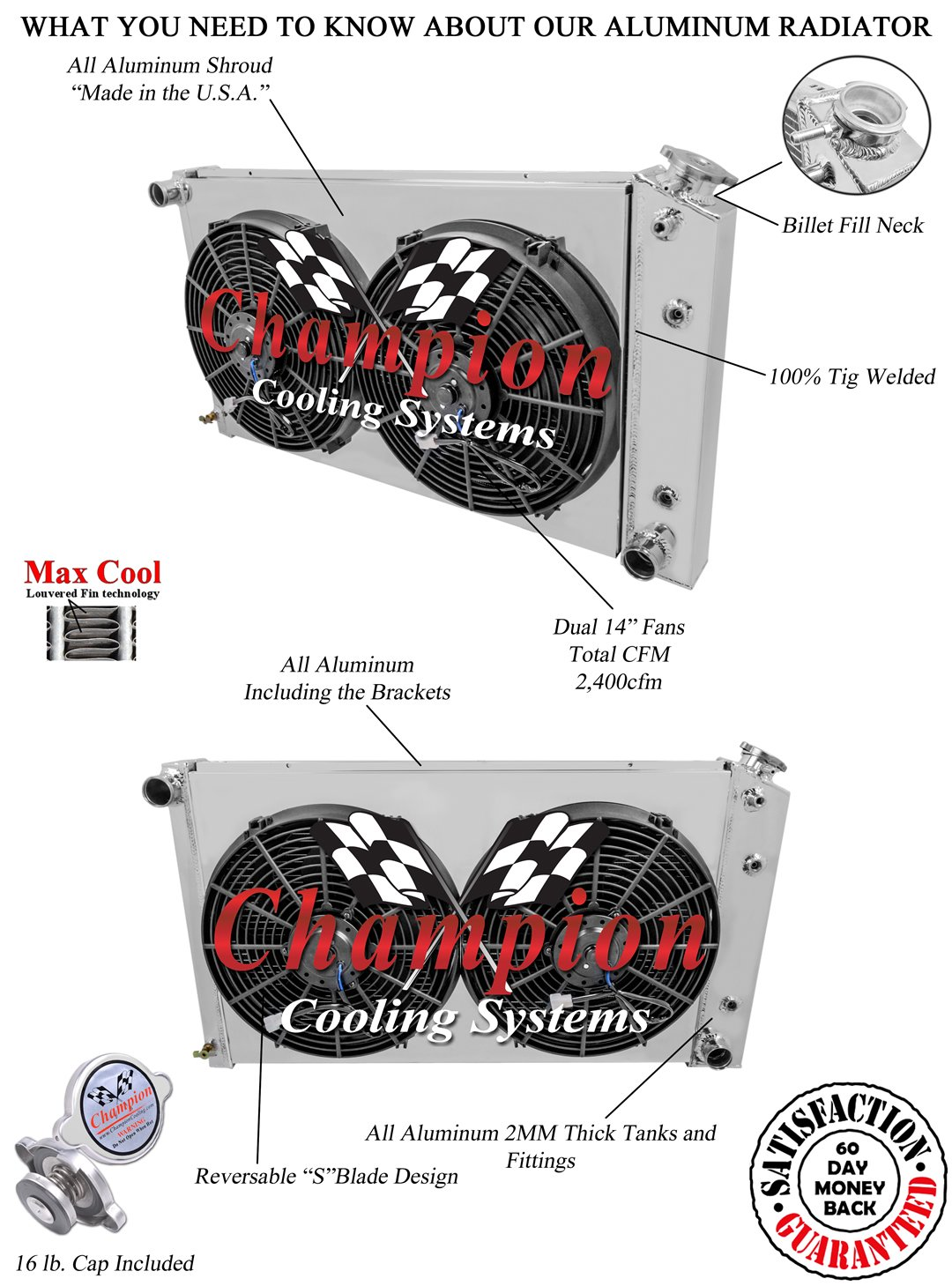 Cooling Systems 1968-1971 1972 1973 1974 Chevy Nova 4 Row DR