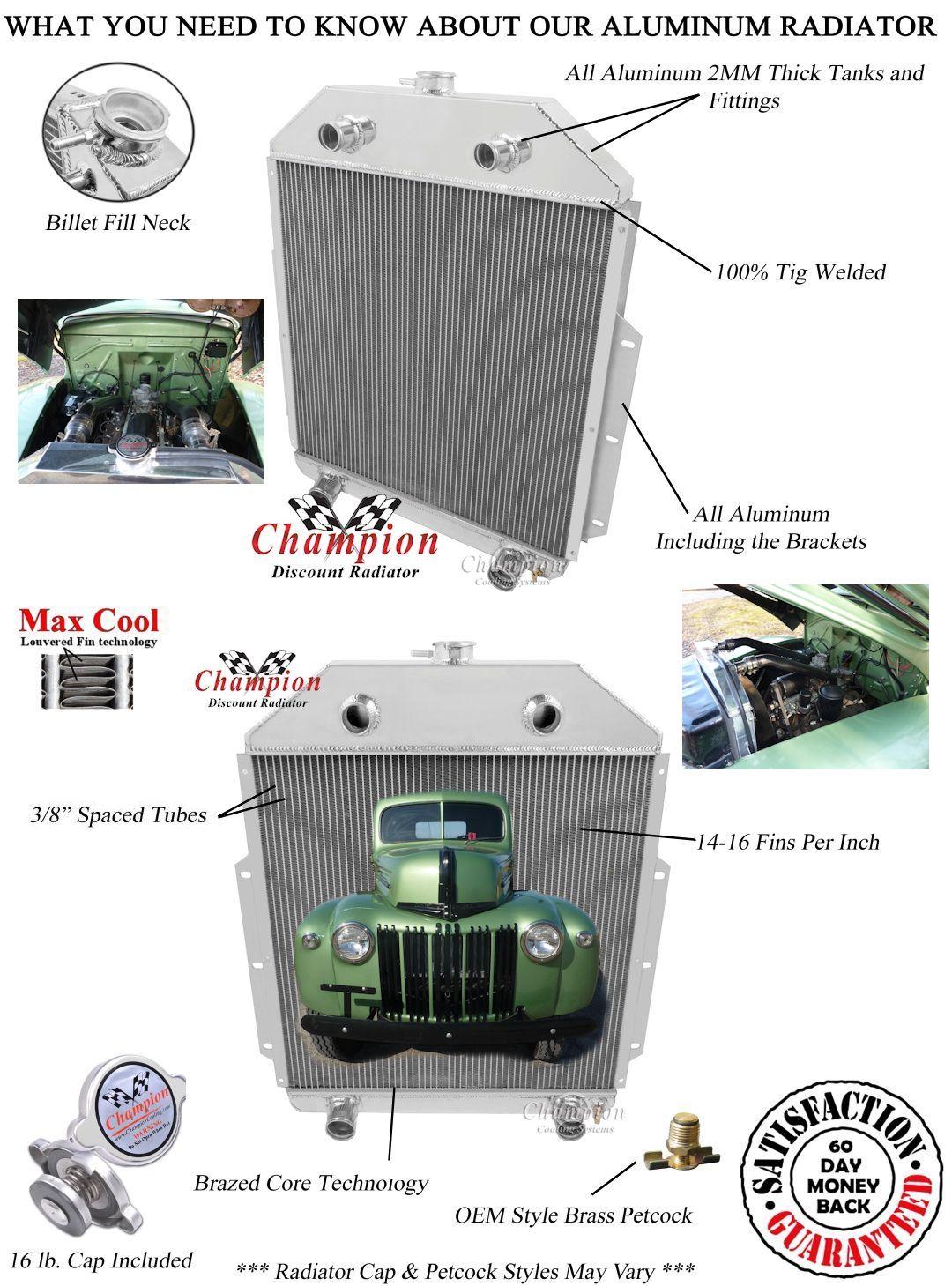 Ford F F F Pickup Truck Aluminum Radiator Ford Flathead V Engine