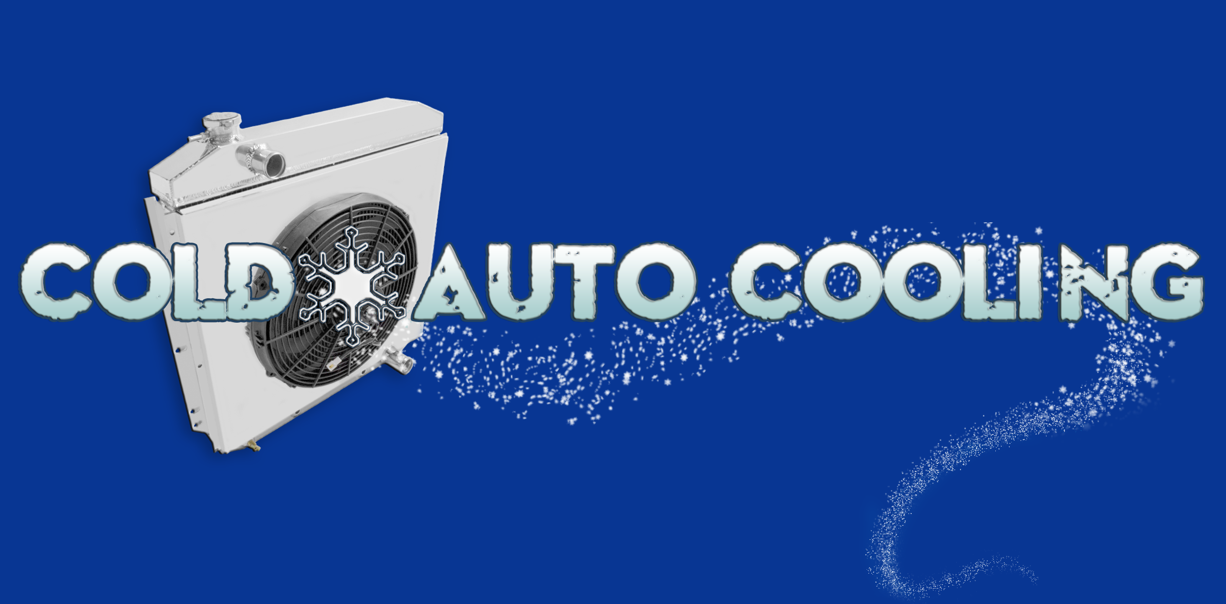 Cold Auto Cooling banner, featuring radiator and snow.