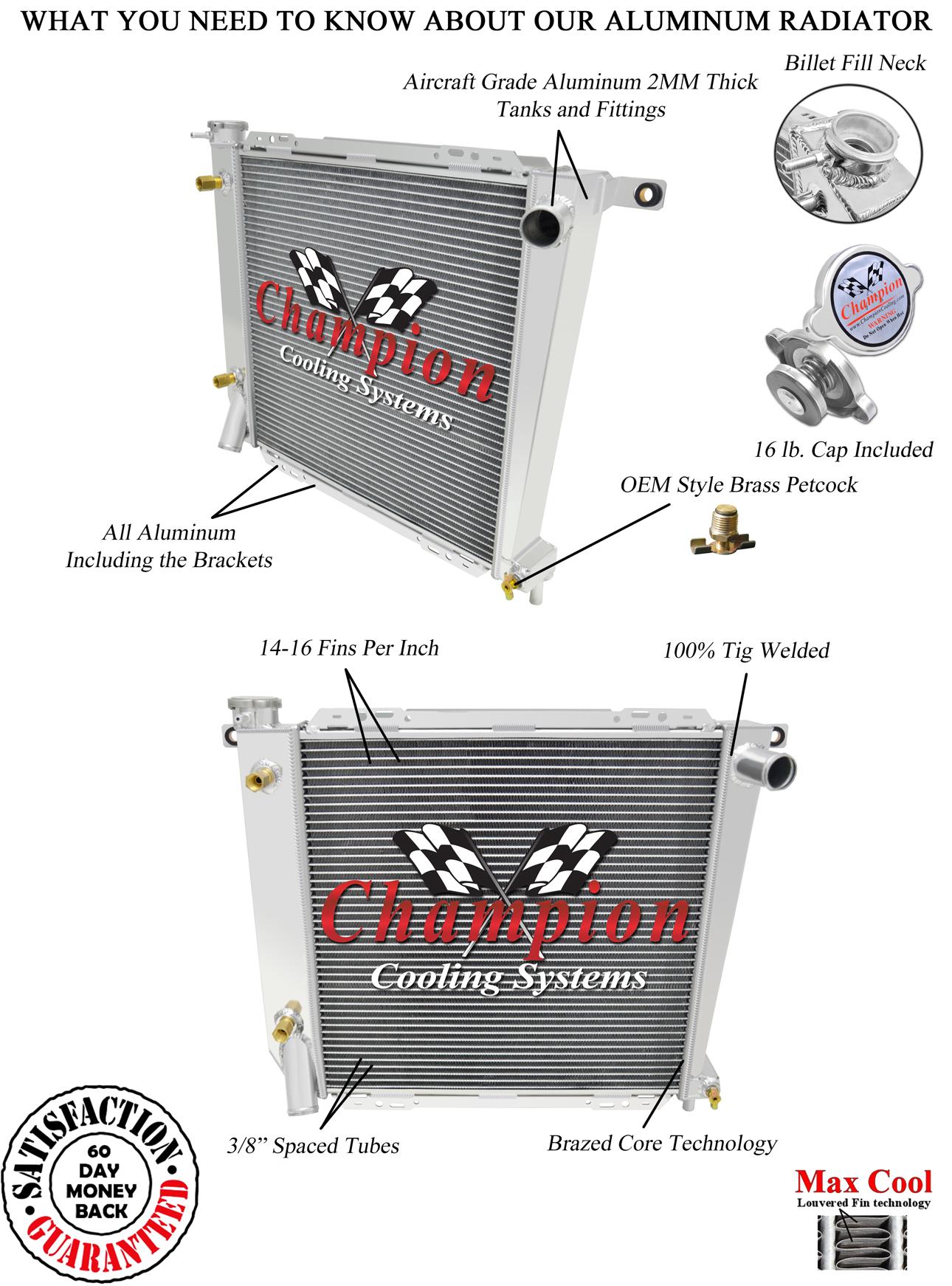3 Row Performance Champion Radiator for 1985 - 1994 Ford Ranger V6 Engine