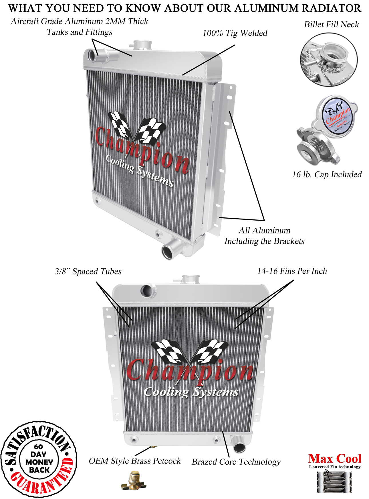 "4.6L//283ci V8 Aluminum 3 Row Champion 1958 Chevy Biscayne Radiator /& 16/"" Fan"