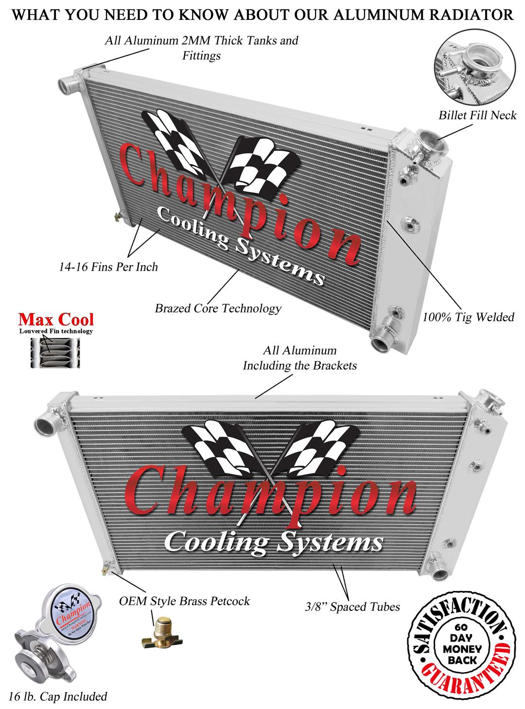 "KKS MOTORSPORTS 3 ROW ALUMINUM RADIATOR CADILLAC FLEETWOOD 1977-1992 30/"" CORE"