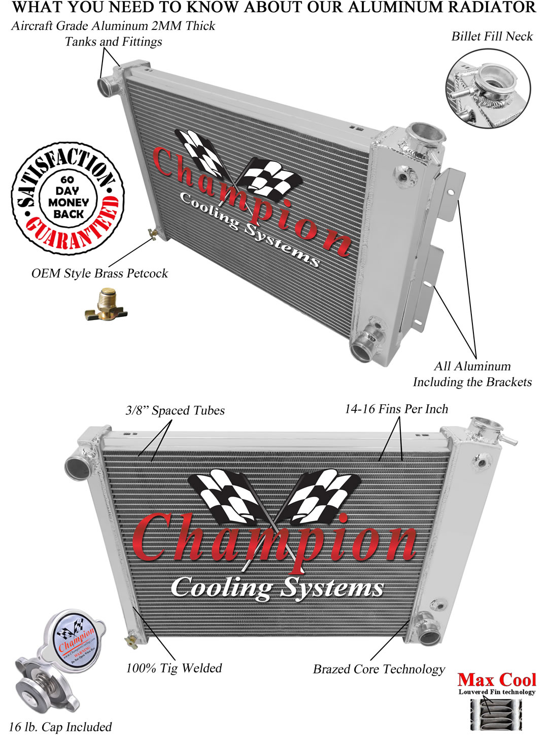 "Aluminum Radiator For 1967 1968 1969 Chevy Camaro Big Block 23/"" Wide Core 2Row"