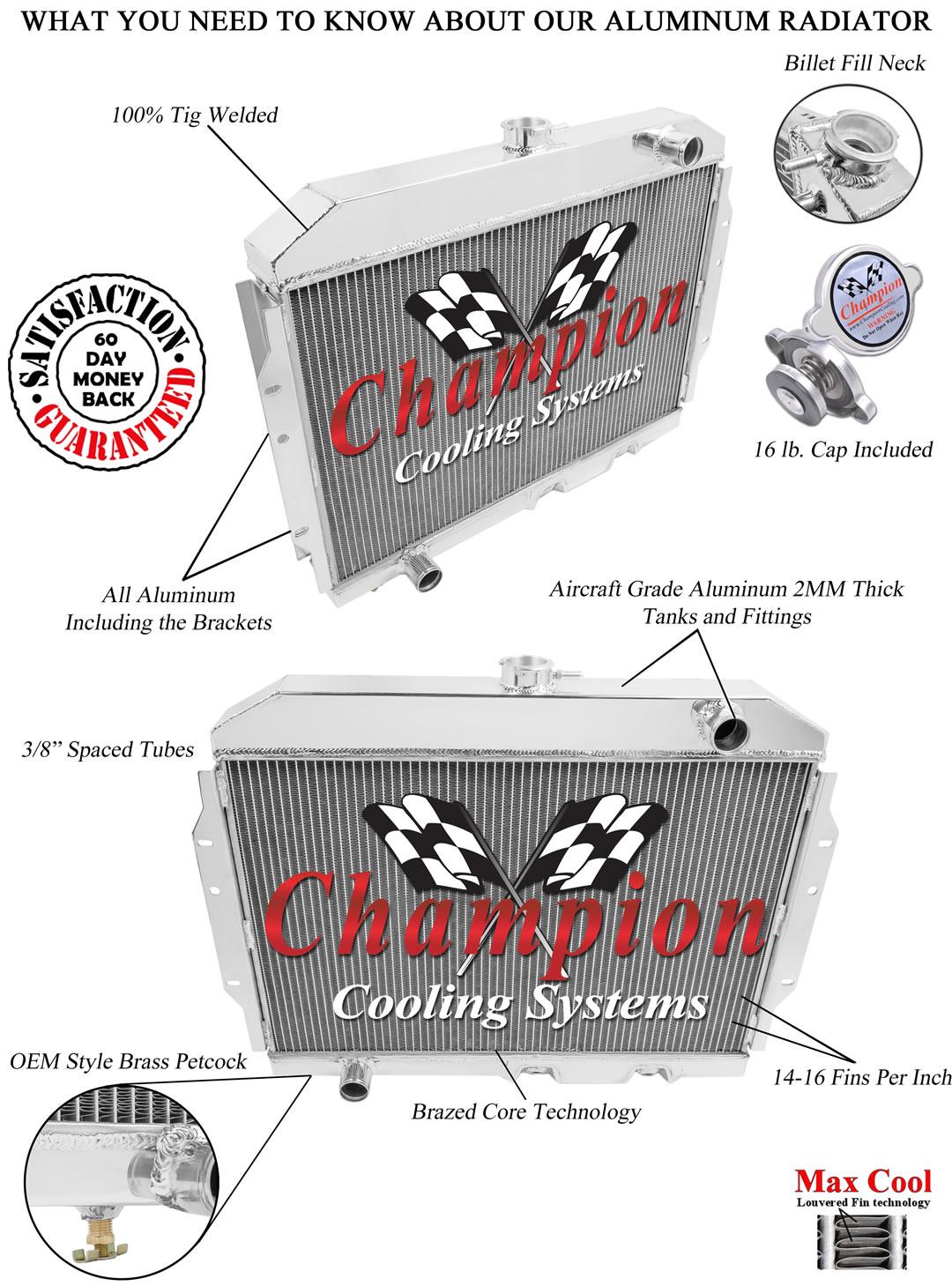 1960-1962 American Motors Rambler Aluminum 3 Row Champion Radiator