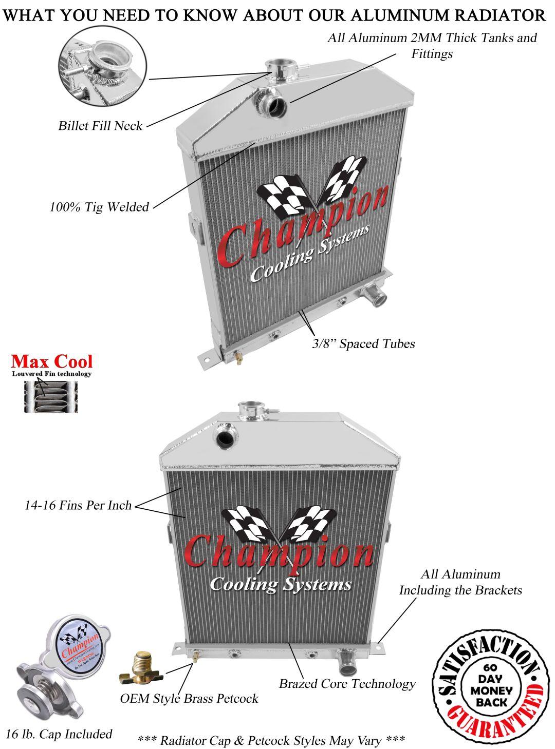 Chevy V8 Engine Conv Mercury 2 Row DR Radiator 1942 1946 1947 1948 Ford