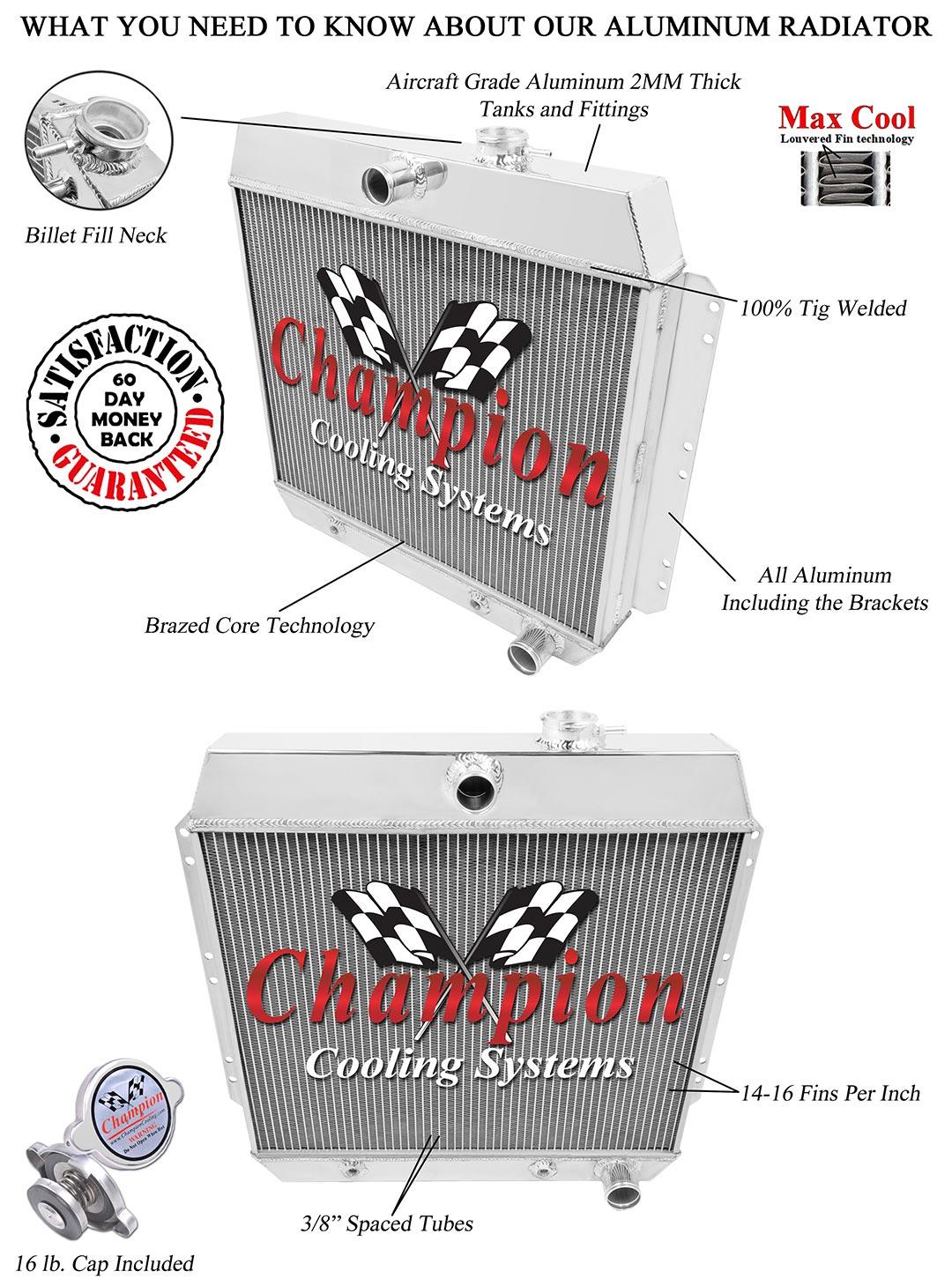4 Row Kool Champion Radiator for 1949 1950 1951 1952 1953 Ford Cars Chevy Engine
