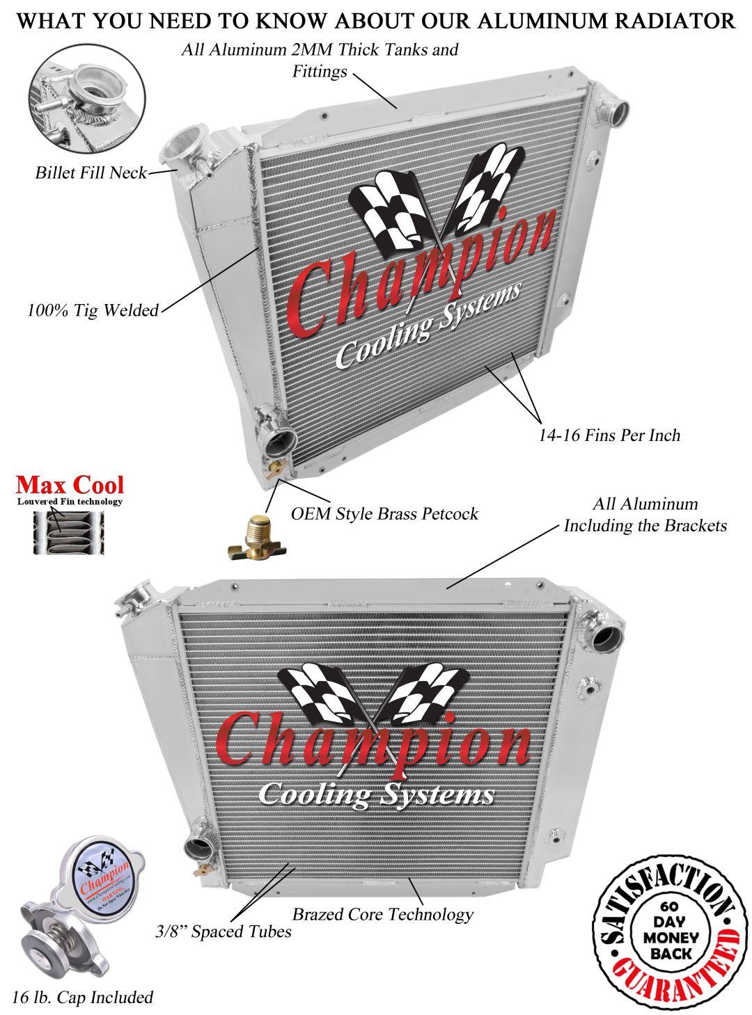 4 Row RS Champion Radiator for 1966-1977 Ford Bronco V8 Engine