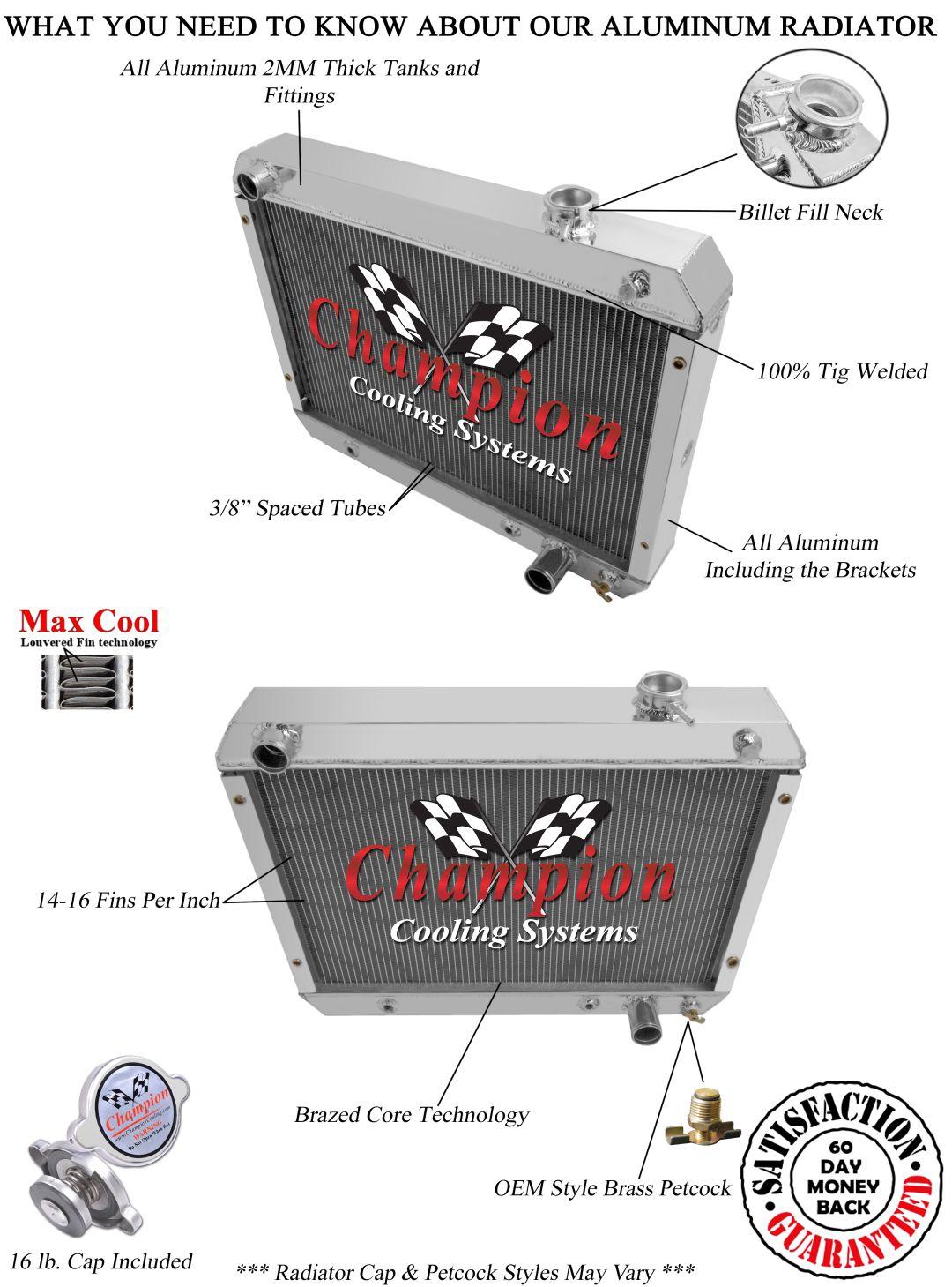 1960-62 AMC Rambler GRILL BRACKETS Champion 3 Row Aluminum Radiator CC403