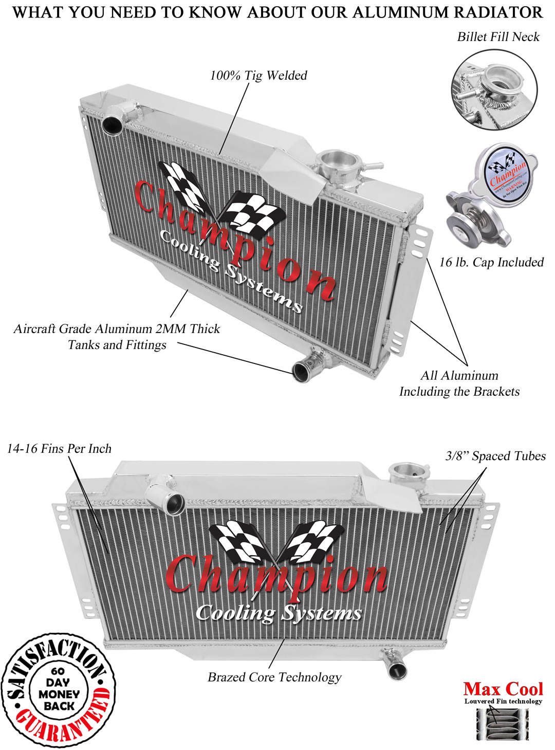 2 Row All Aluminum Champion Alliant Radiator For 1964-78 Triumph Spitfire
