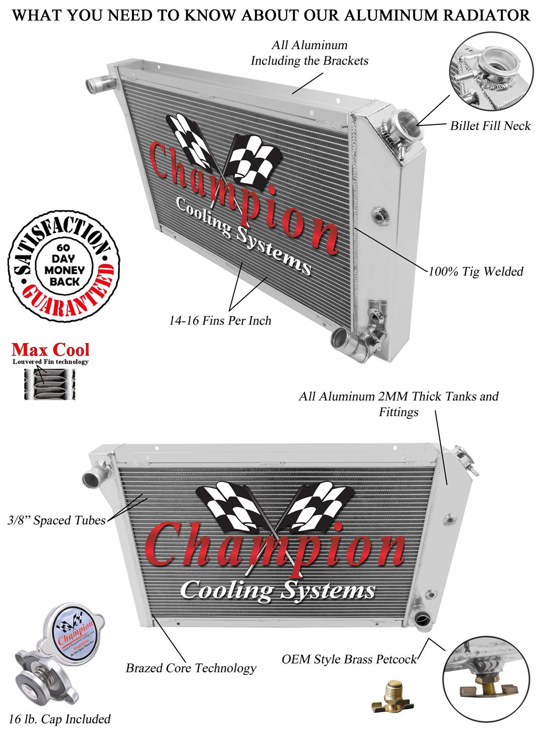 1977 1978 1979 1980 1981 Chevy Corvette 3 Core Champion All Aluminum DR Radiator