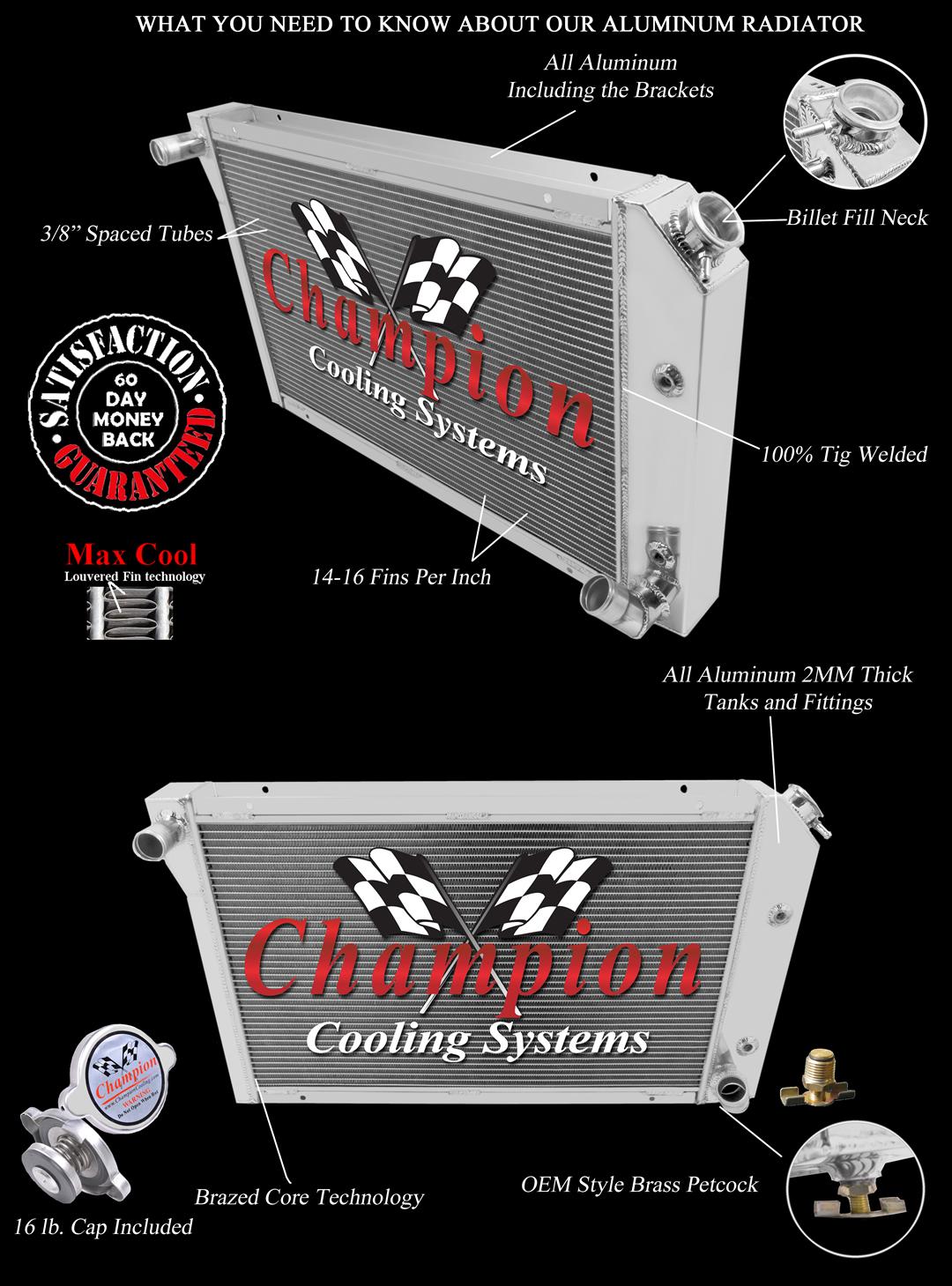 2 Row 1 U0026quot  Tubes Qr Champion Radiator For 1977