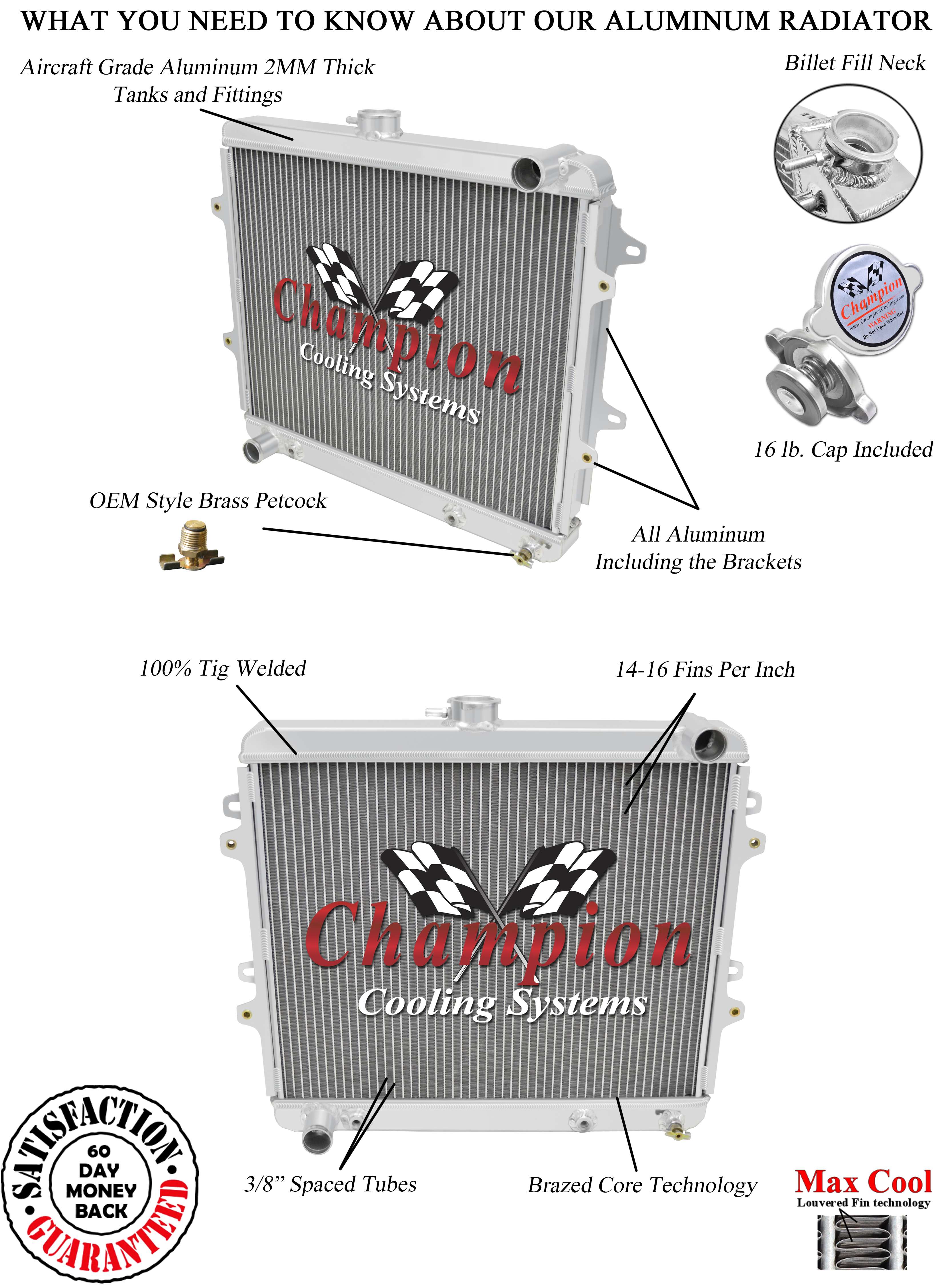 2 Row Racing Champion Radiator for 1986-1995 Toyota Pickup L4 Engine