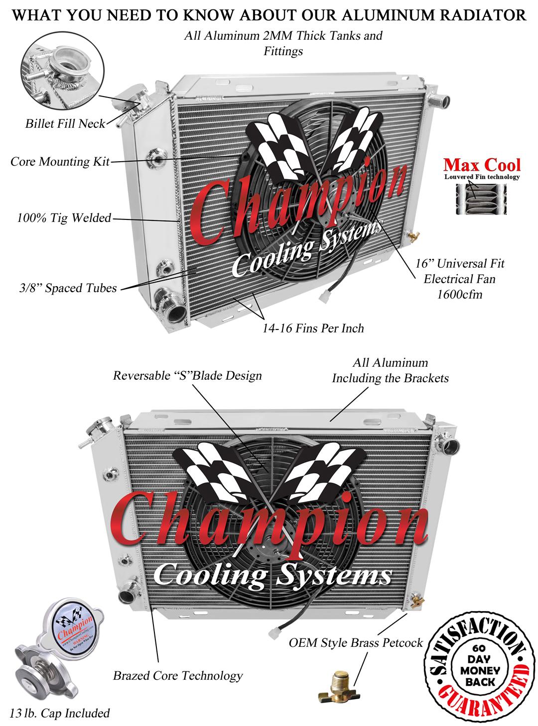 1980 1981 1982 1983 1984 1985 1986 Mercury Capri 2 Row Champion DR Radiator