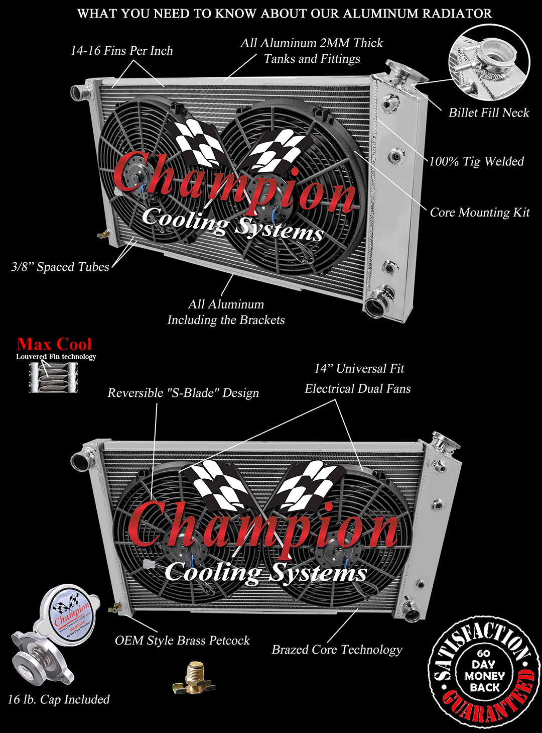 """2 Row Radiator with 1/"""" Tubes For 70-85 GM 26/"""" Core AS"""
