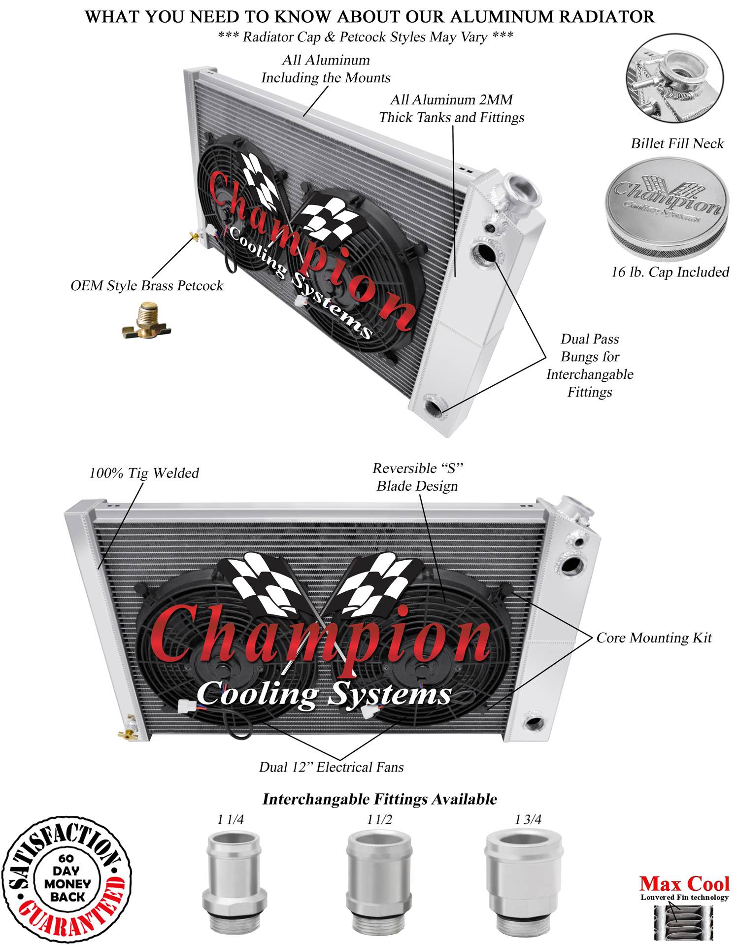 """2 Row 1/"""" RS Champion Radiator 17/""""x26/"""" Core,12/"""" Fans for 1970-1981 Chevy Camaro"""