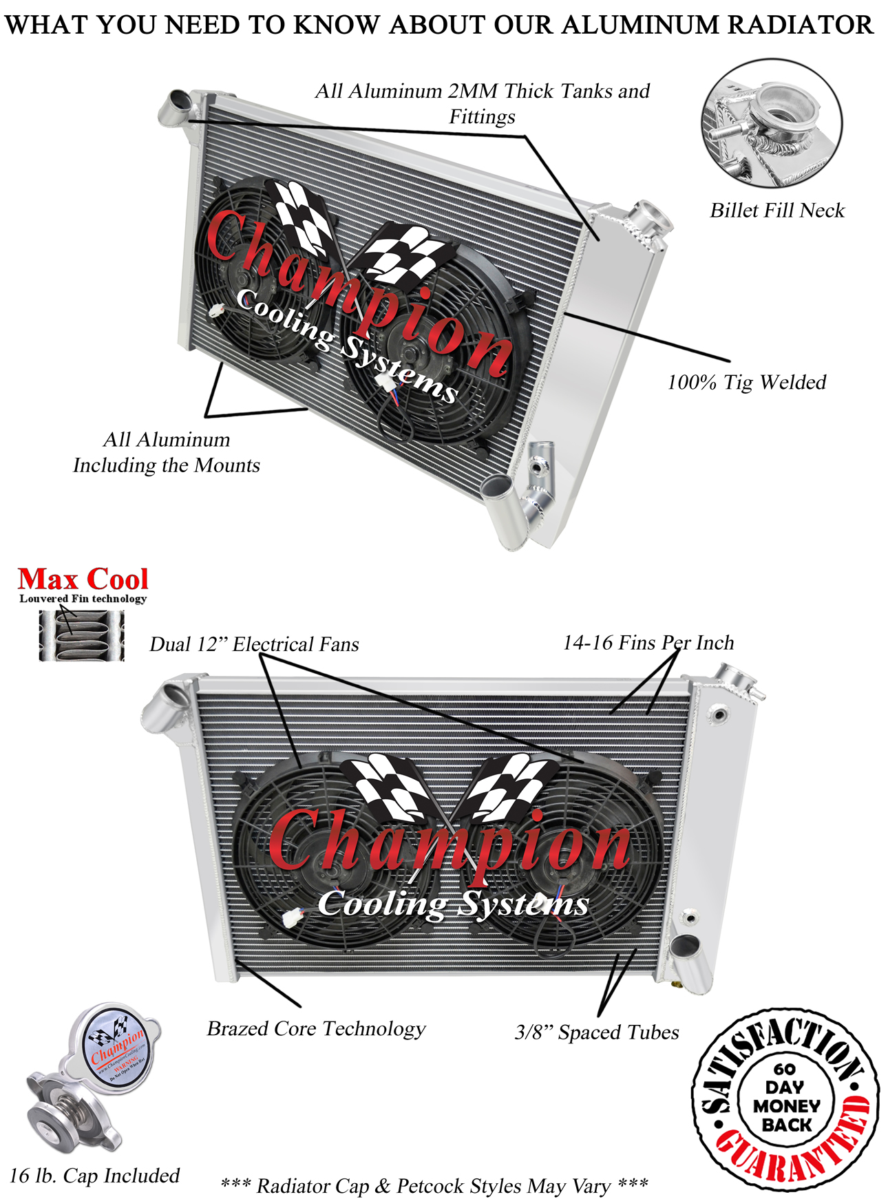 4 Row Rs Champion Radiator 12 U0026quot  Fans For 1969