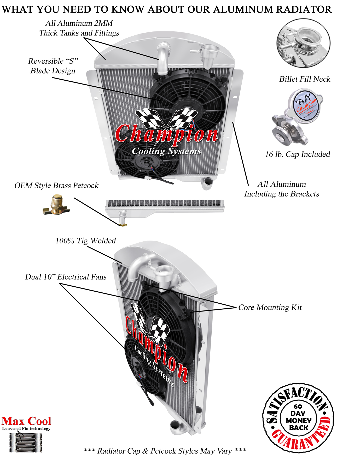 2 Row 1 U0026quot  Rs Champion Radiator W   2 10 U0026quot  Fans For 1941