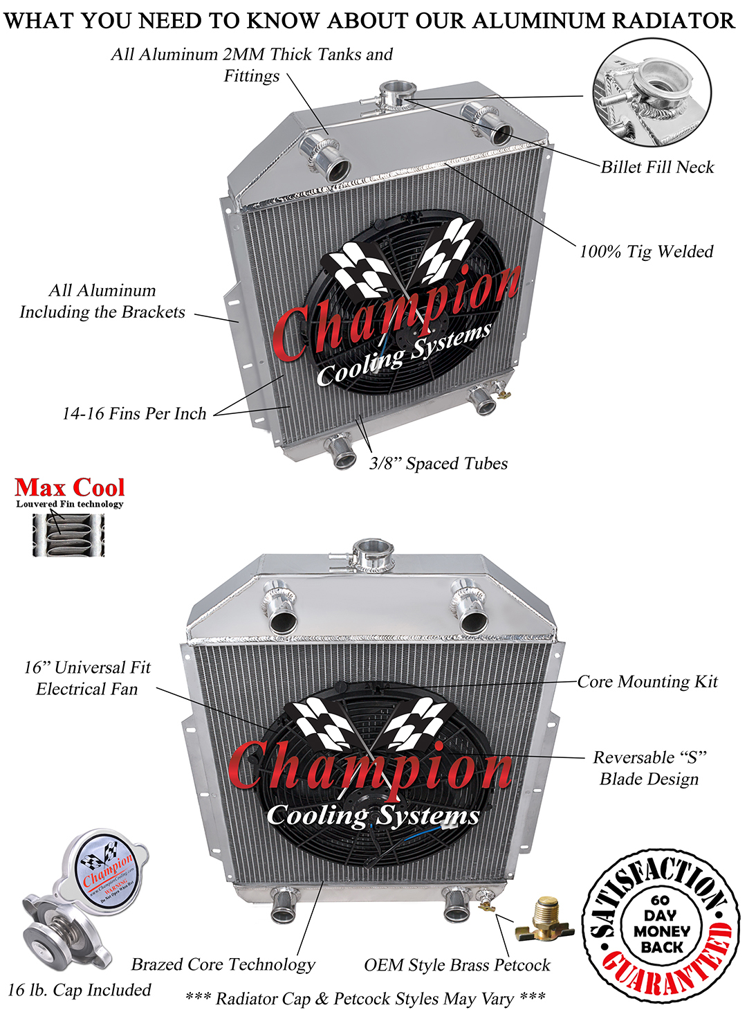 """3 Row SZ Champion Radiator W// 16/"""" Fan for 1942-1952 Ford Truck Chevy Conversion"""