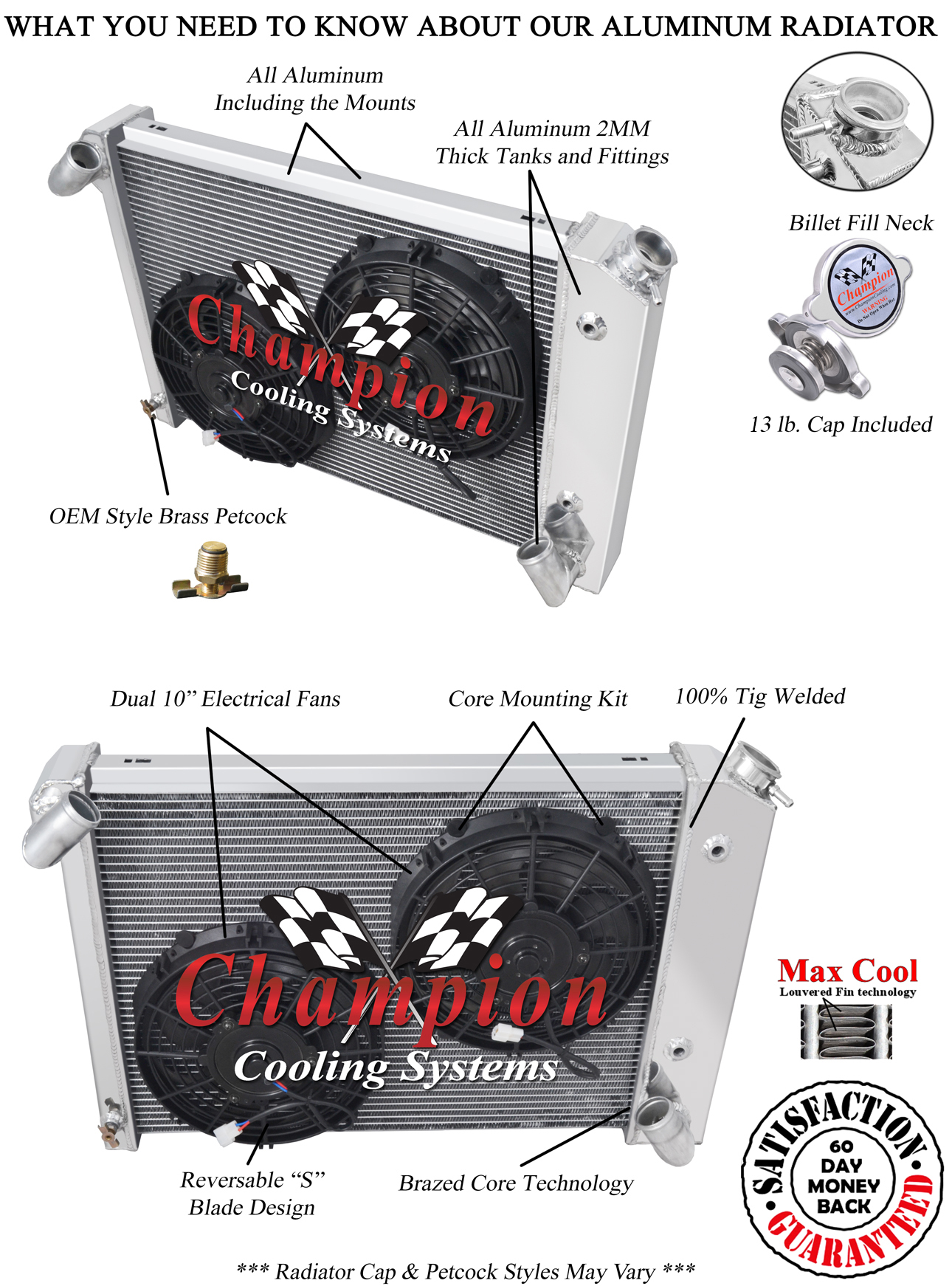 3 Row All Aluminum Champion RR Radiator CC615
