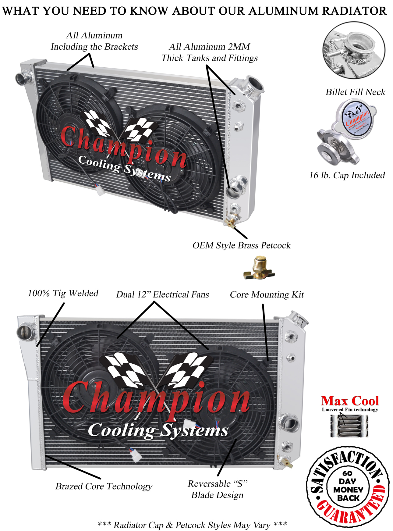 3 Row Rs Champion Radiator 12 U0026quot  Fans For 1984