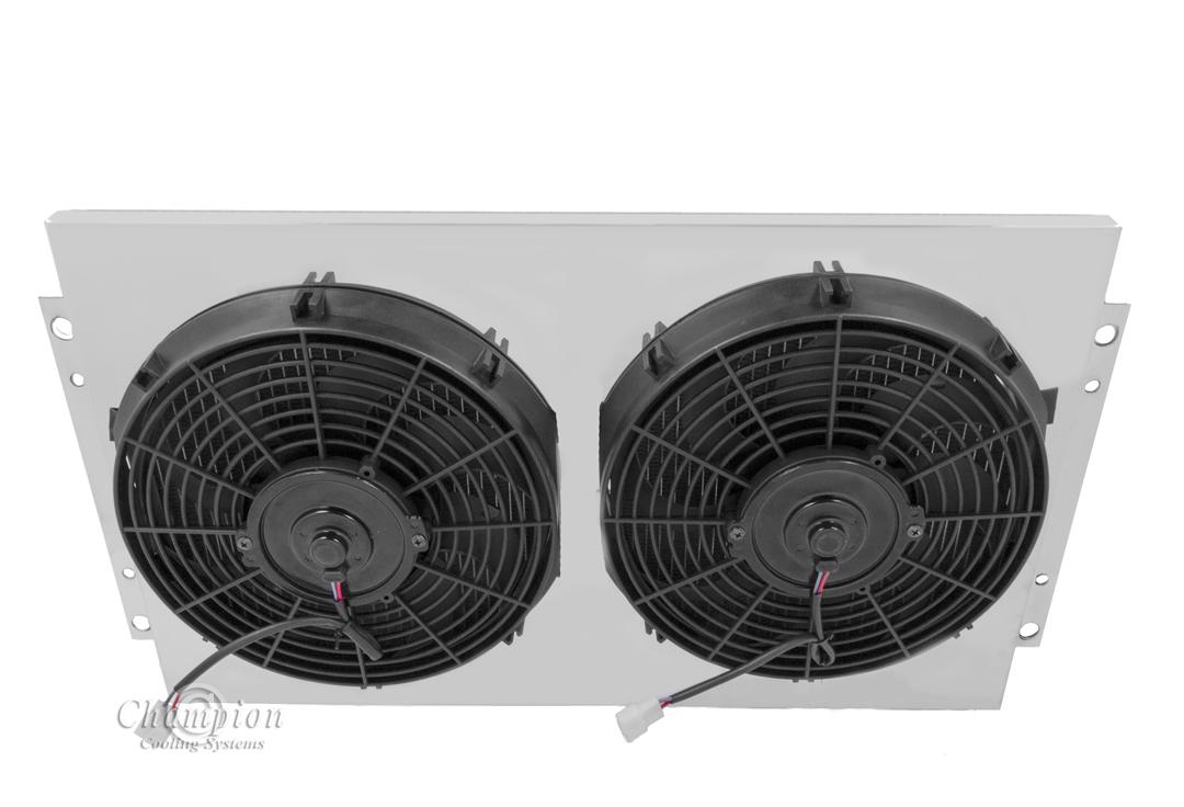 "Chevy Truck Custom Aluminum Radiator Fan Shroud /& 2-12/"" Fans 17/""H x 26 1//4/""W 16"