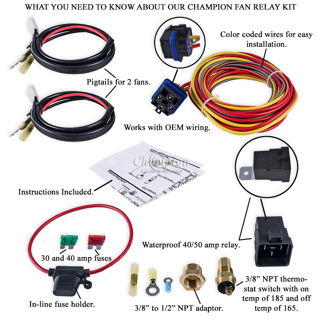 Champion Cooling 180 Degree 40amp Electric Fan Relay Kit For Single Engine Diagram Or Dual Fans
