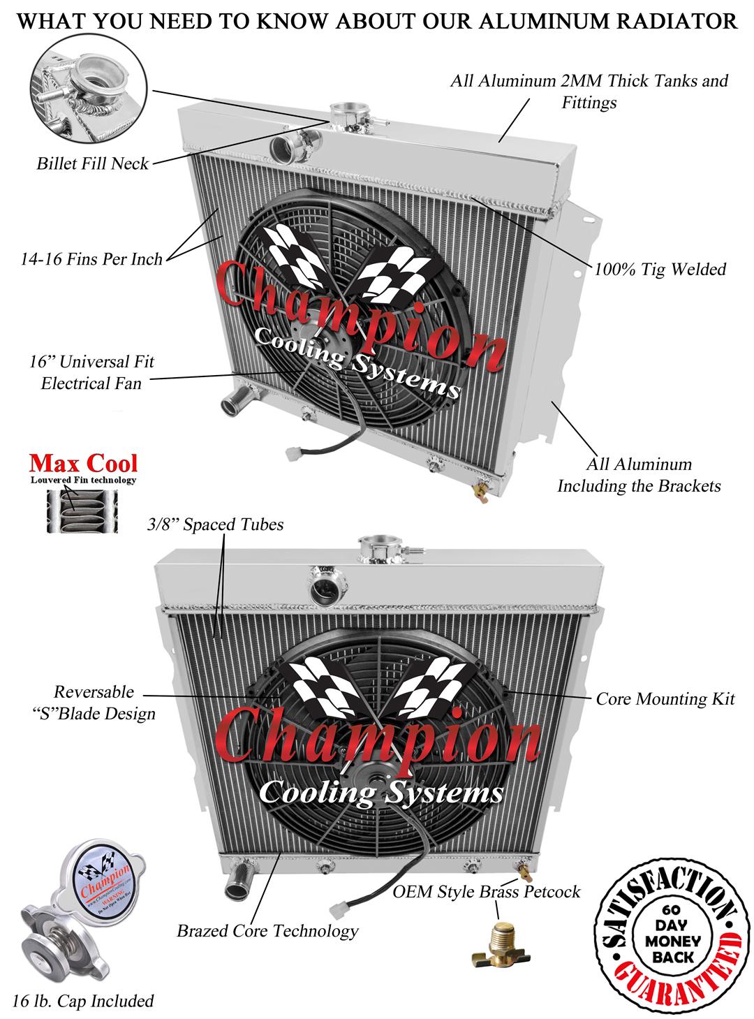 1966 22 Inch Dart 3 Row Champion Alum Radiator Fan Combo Radiators Wiring Diagram Will Cool Up To 650 Hp