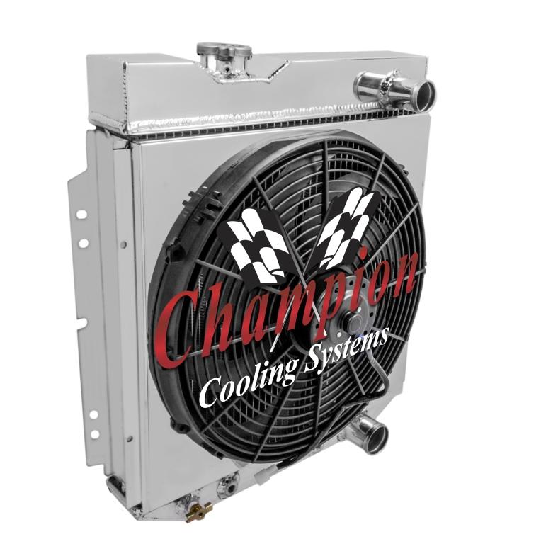 3 Row Aluminum Radiator Shroud Fan For Ford Mustang Svo: Ford Mustang Radiator, Aluminum 4 Row Champion With Shroud