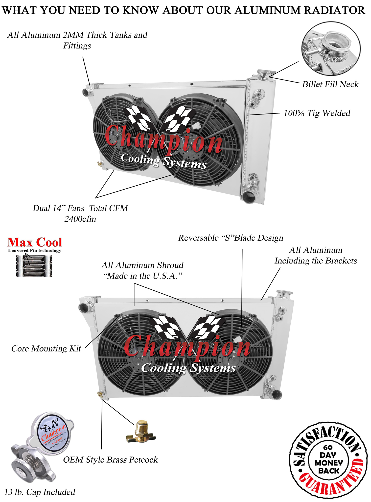 67 - 72 Chevy C10 C20 K10 K20 K30 2 Row DR Champion Radiator + Fan ...