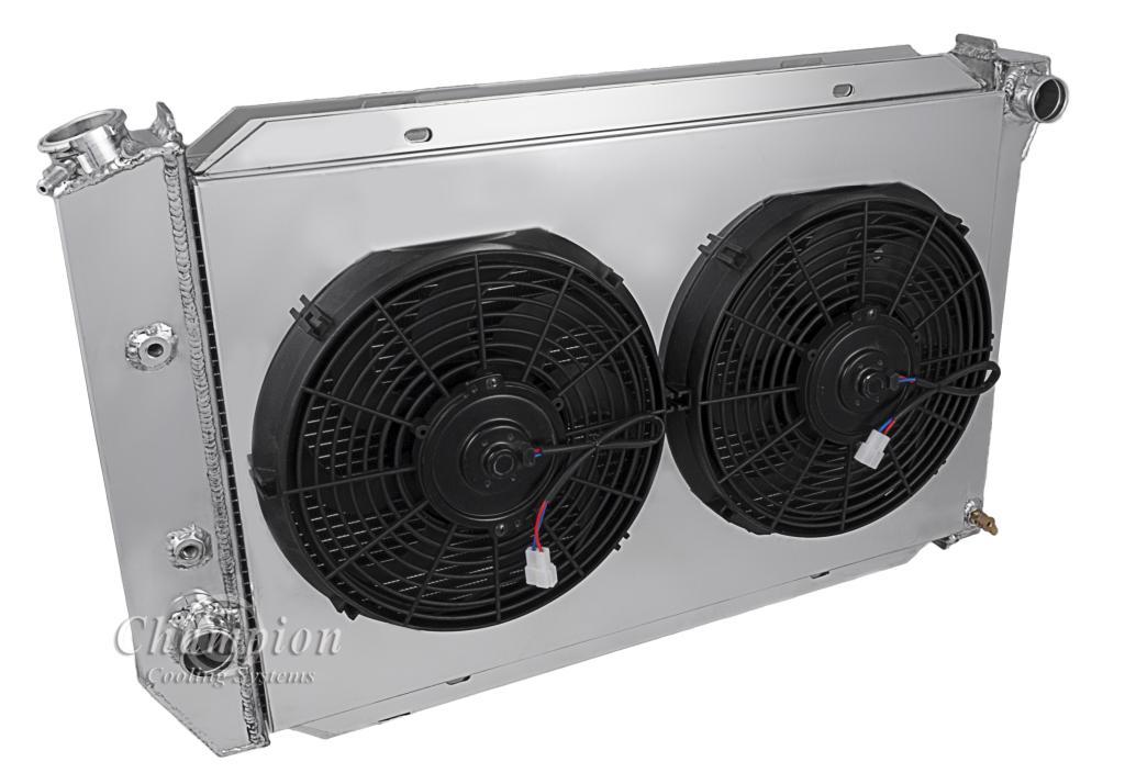 ford gran torino radiator aluminum 4 row champion shroud amp 2 main image