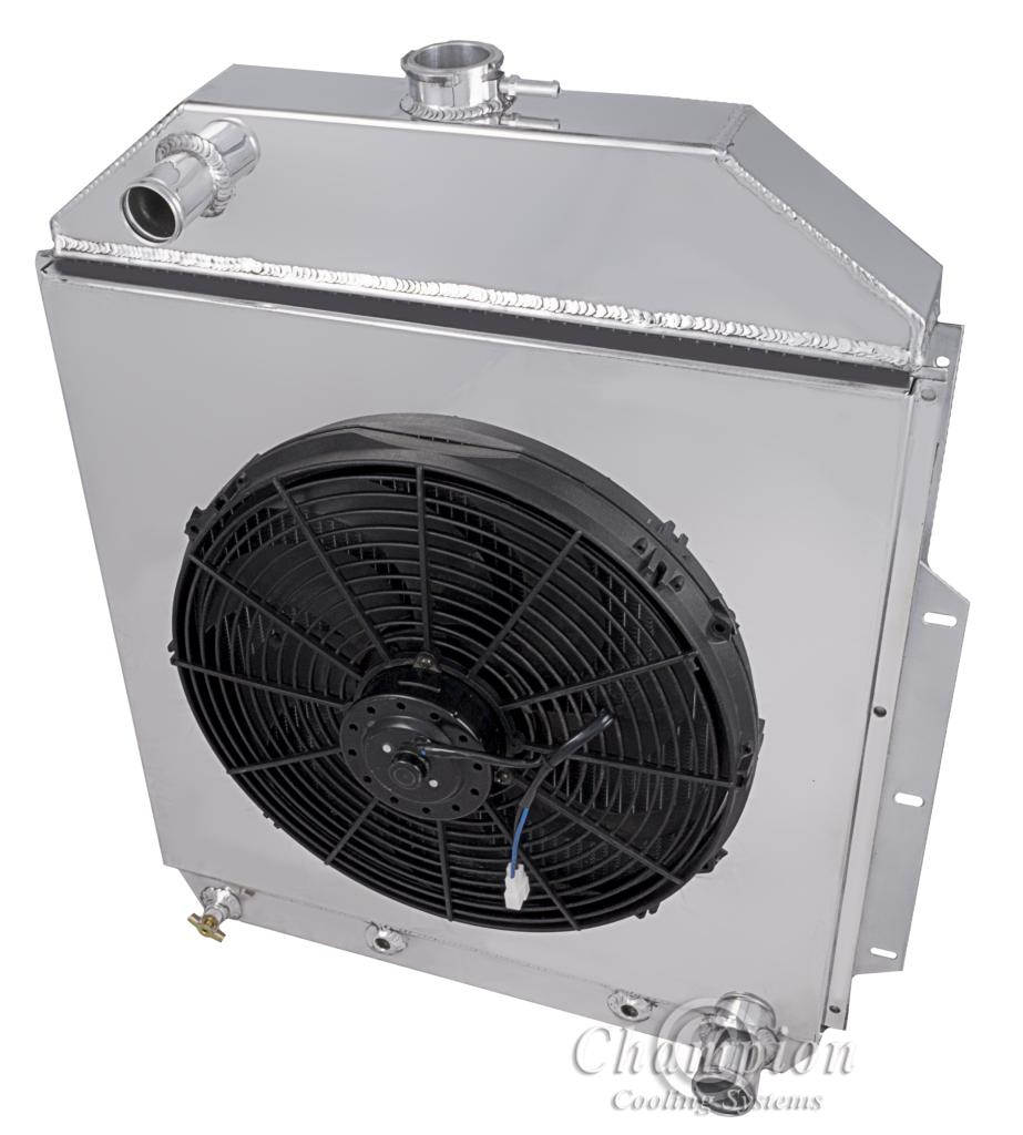 Reliable Radiator Inc Electric Fan Conversion For Suburban Ford Trucks 1942 52 V8 Conversions 2 Row All Aluminum Shroud Combo