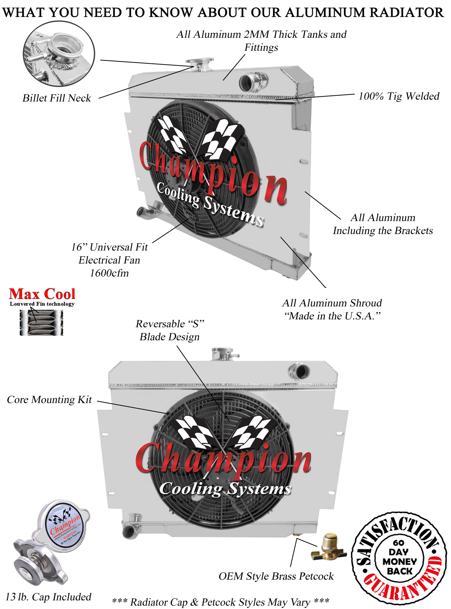 jeep cj radiator  aluminum 4 row champion radiator  shroud