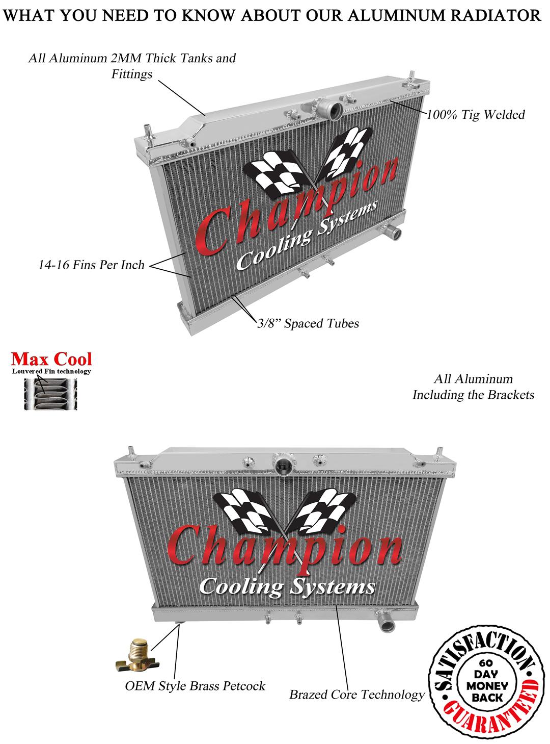 1995-1998 Eagle Talon Radiator, Champion Polished Aluminum ...