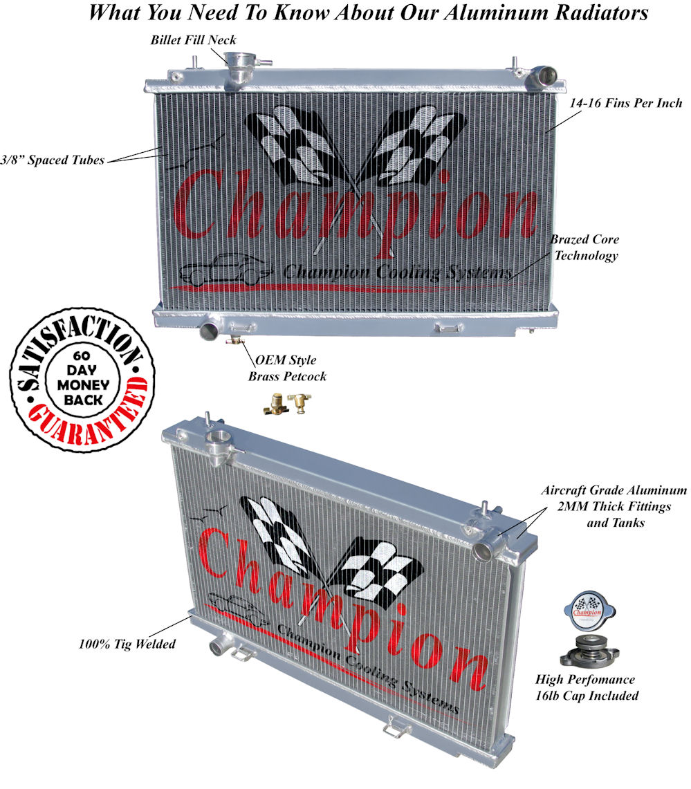 2003 04 05 06 Nissan 350z Champion 3 Row Core Alum Radiator