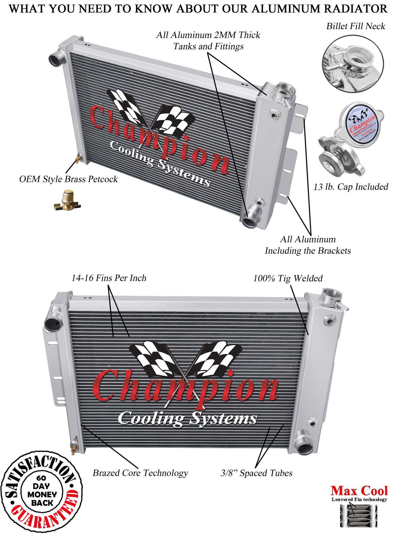 champion cooling dr mc370 aluminum radiator big block cooling 4 champion cooling systems mc370 aluminum radiator big block cooling 4 row core
