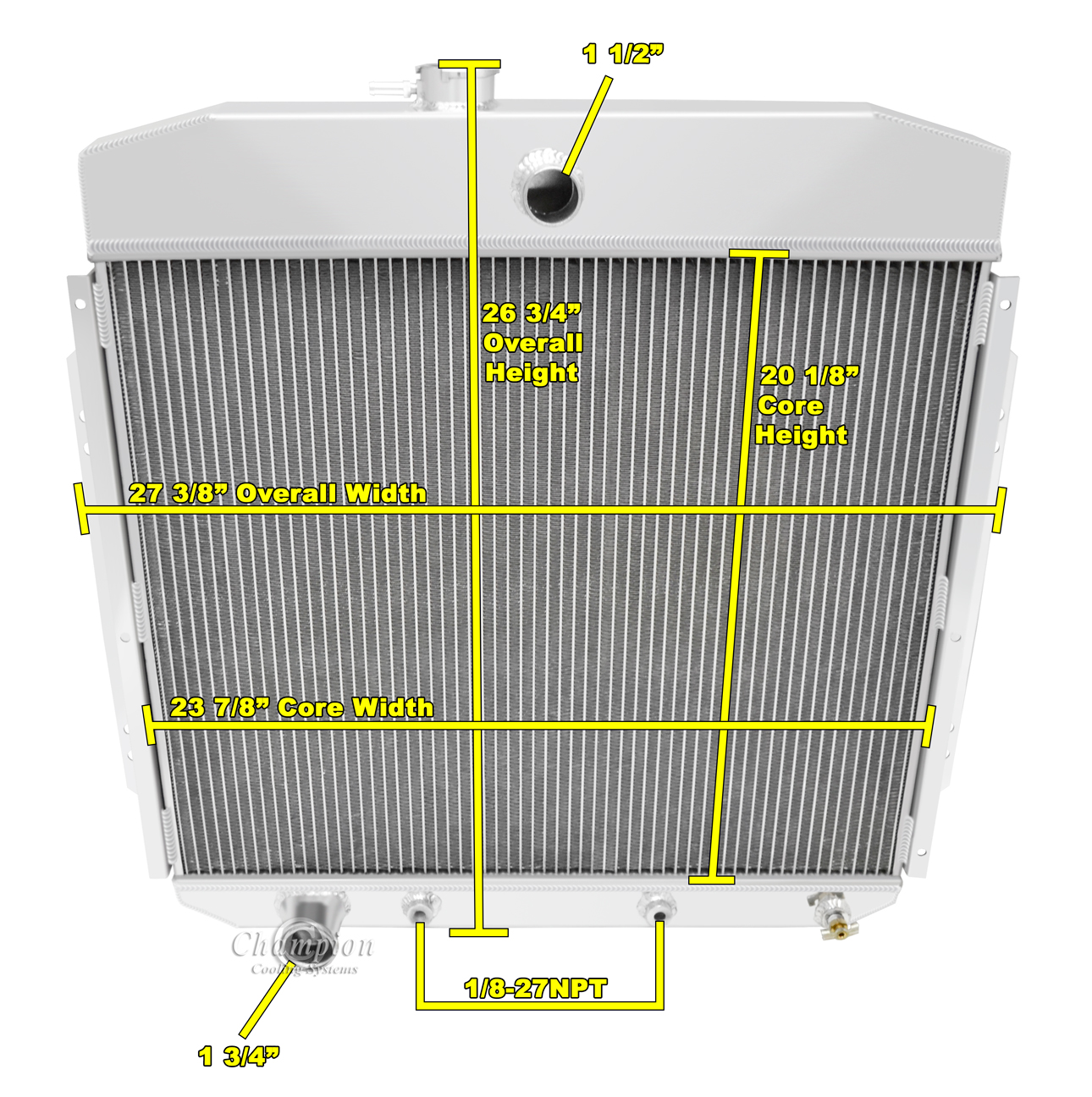Details about 1957-1960 Ford F-100 Pickup Truck Polished Aluminum 3 Row  Champion Radiator