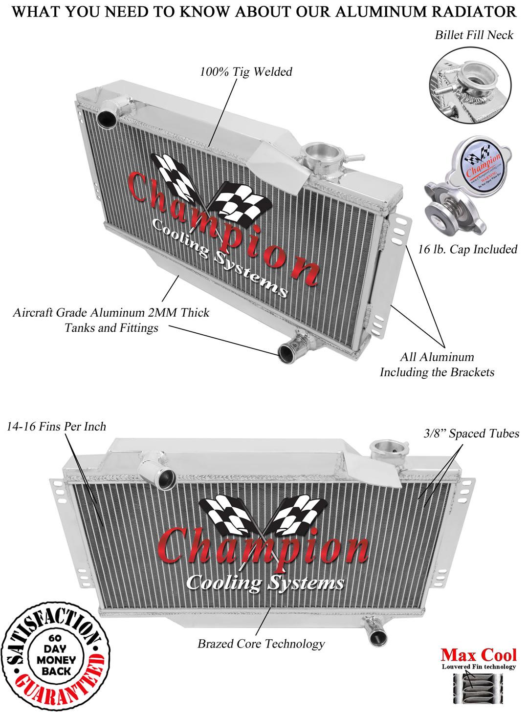 1964 80 Triumph Spitfire Mk3 Aluminum Champion Radiator