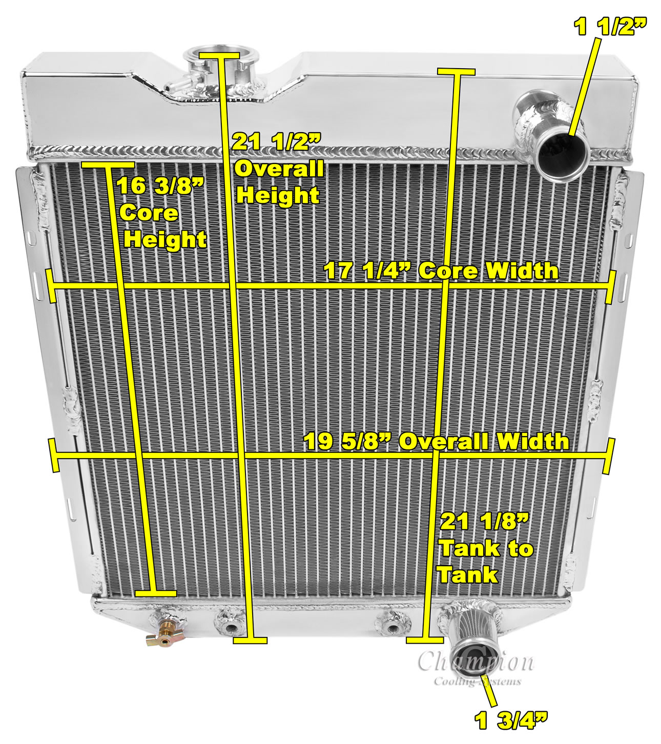 For: V8 Engine 1964 1965 1966 Ford Mustang 2 Row Core Alliant Radiator