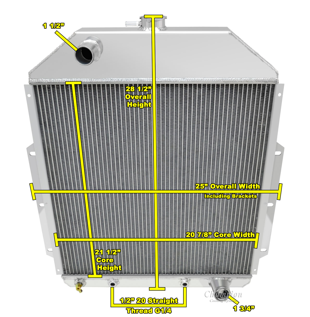 Champion 3 Row Aluminum Radiator for 1942-1952 Ford Truck Chevy Conversion