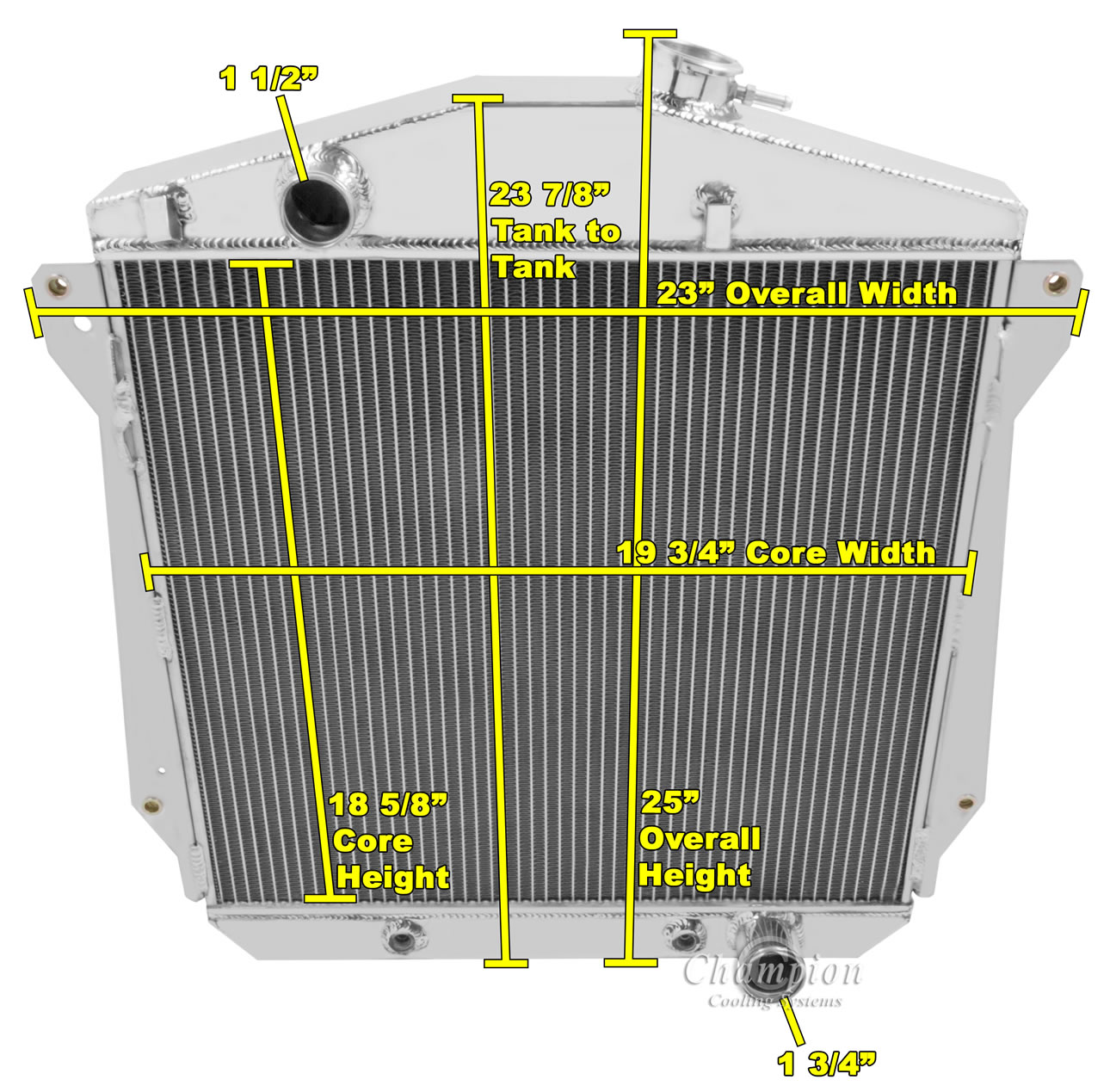 Details about 1943-1948 Chevy Cars Aluminum 3 Row Champion Radiator &  16