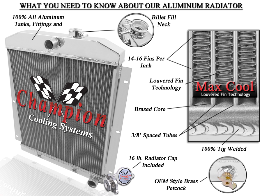 high performance aluminum radiators Champion Radiators Features